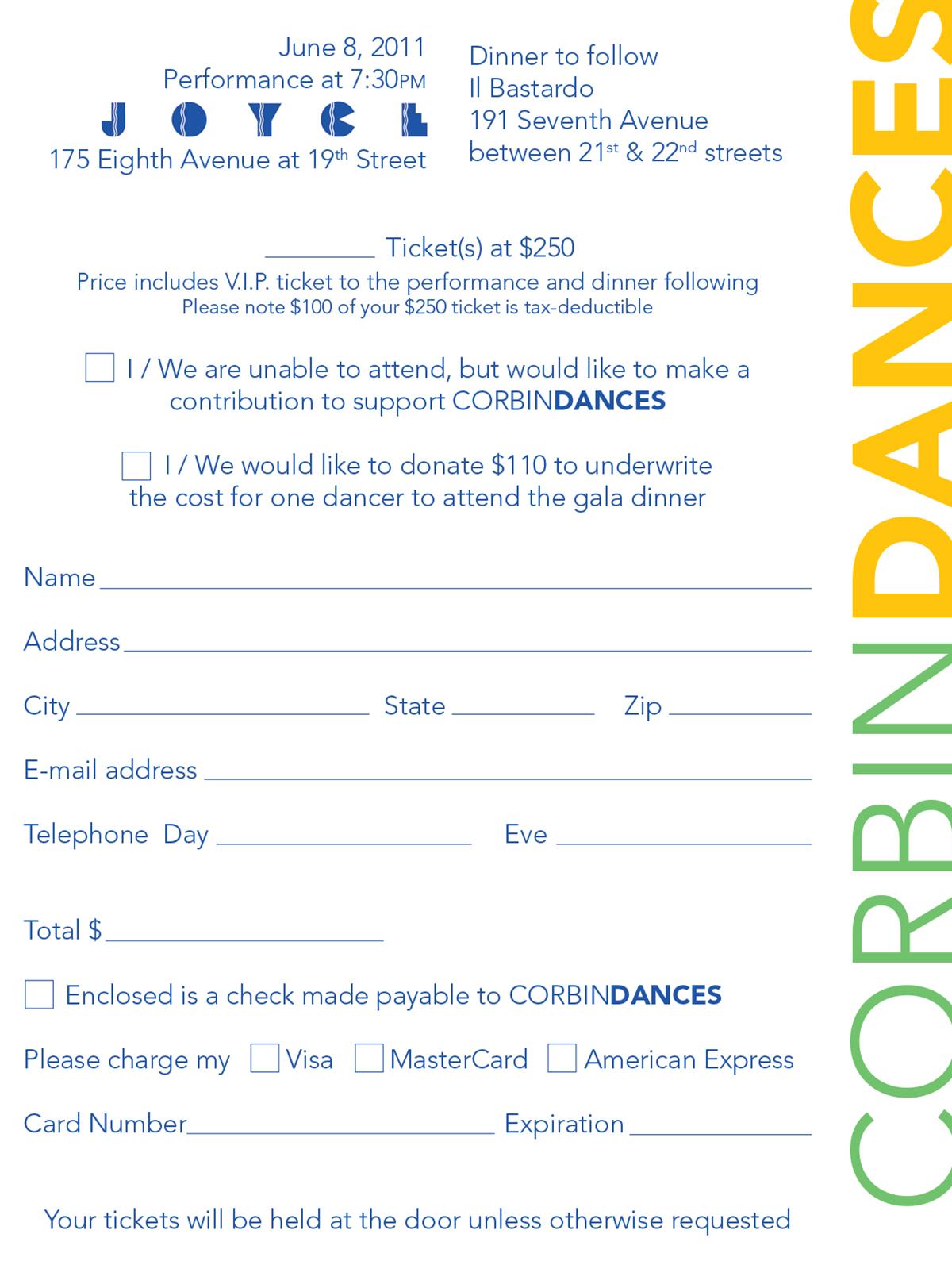 CorbinDances 2011 Invitation - RSVP Card Back