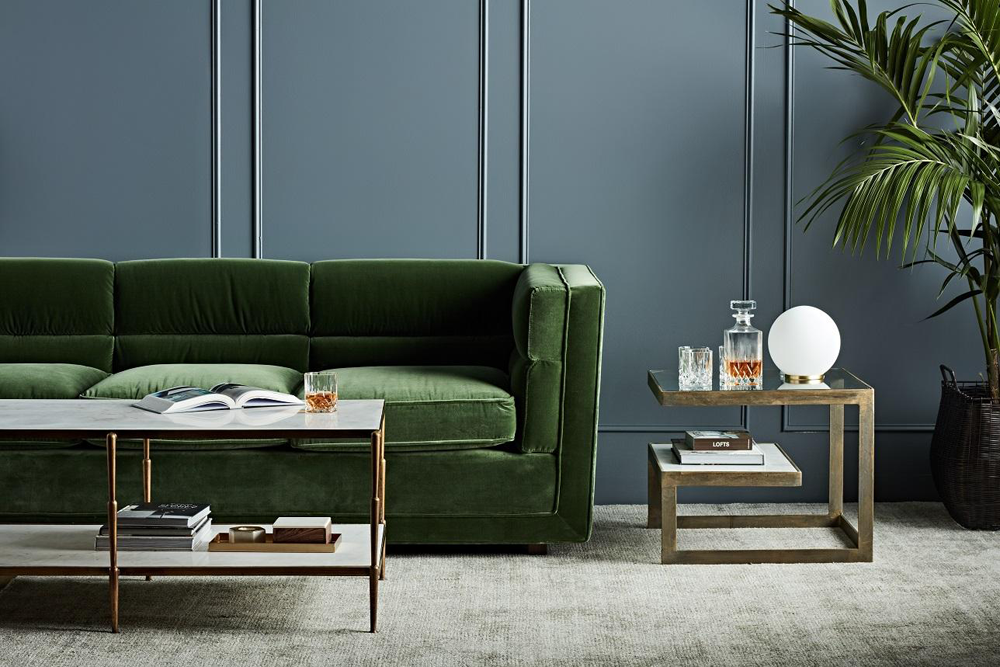 The Bogart Block sofa in lush forest green velvet available to purchase via  Bibby + Brady