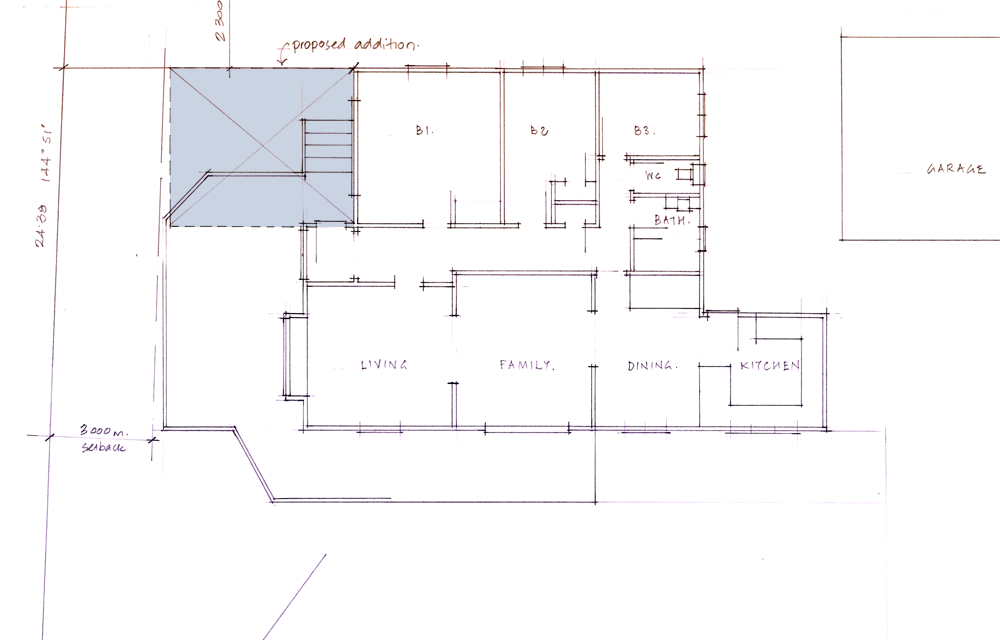 The original floor plan, the blue indicates where the extension would go.