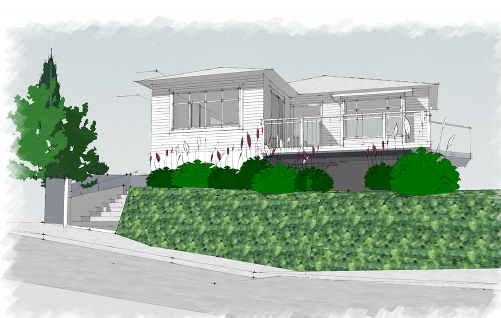 A visual by Architecture HDT of how our home would look with the master extension to the left.