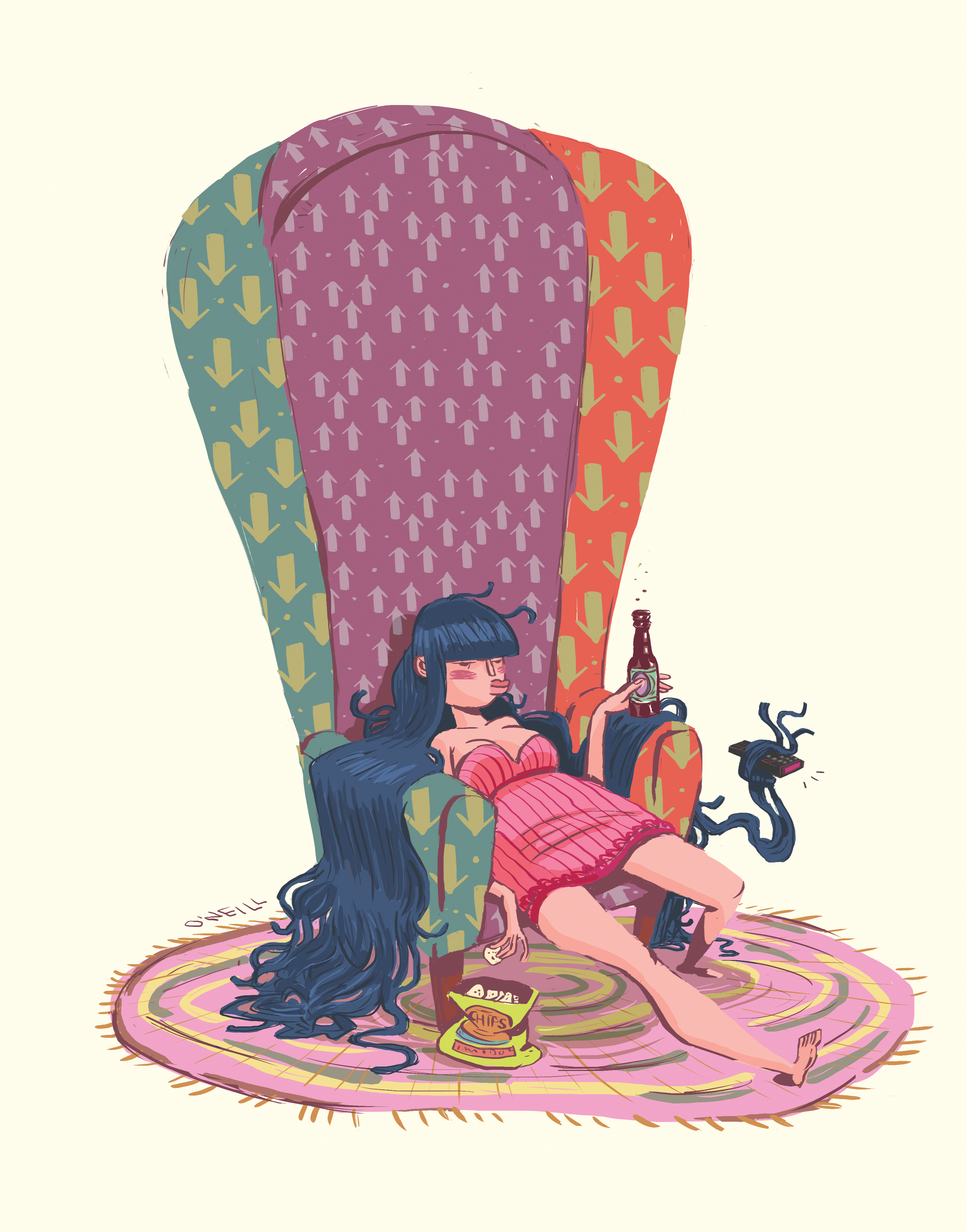 Long hair, big chair.