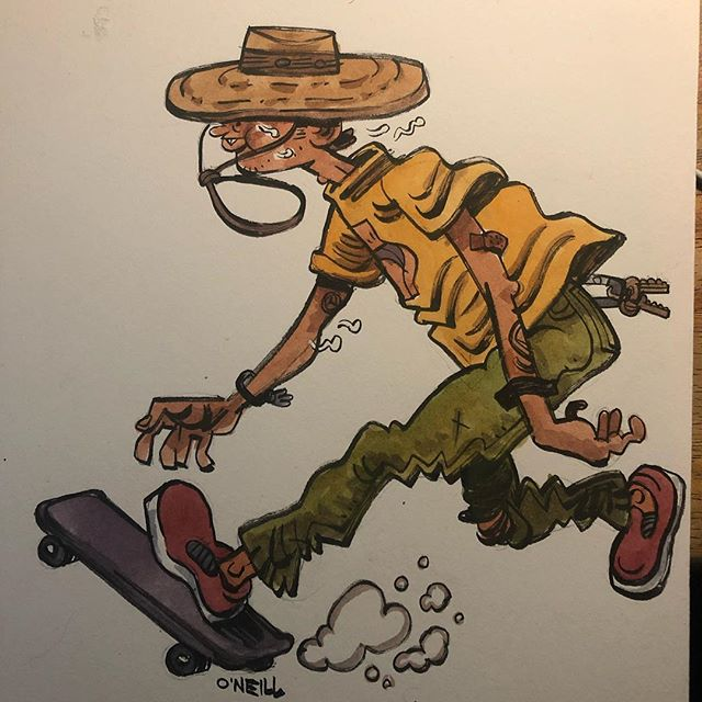 Skate the day away. Watercolor & ink on 4ply matboard. Love how vibrant the colors stay on the board. . . . .  #art #illustration #drawing #sketch #sketchbook #ink #brush #illustratorsoninstagram #illustratorsofinstagram #dailydrawing #draweveryday #drawwhatsinyourhead #thumbsoneill #zebrapen #drawwhatsinfrontofyou #drawingaday #characterdesign #brushpen