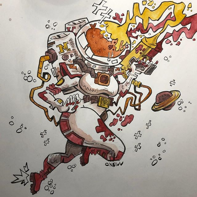 @austen.zaleski 's #wurstronaut is the BEST-ronaut!! ✨🌭✨ . . . #art #illustration #drawing #sketch #sketchbook #ink #brush #illustratorsoninstagram #illustratorsofinstagram #dailydrawing #draweveryday #drawwhatsinyourhead #thumbsoneill #zebrapen #drawwhatsinfrontofyou #drawingaday #characterdesign #drawthisinyourstyle