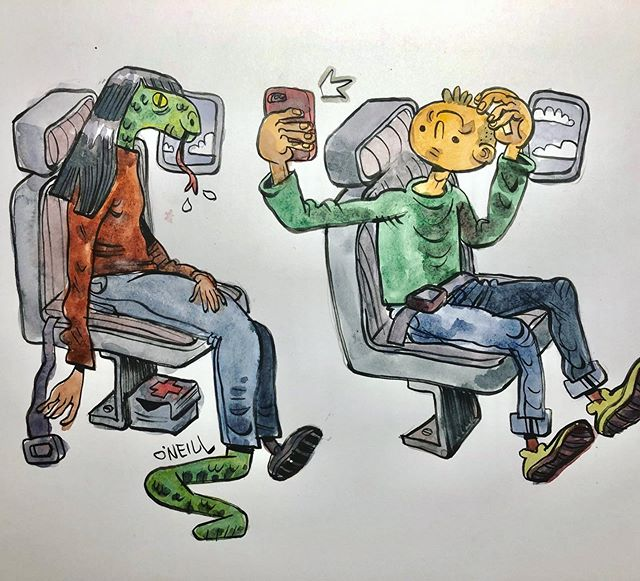 "I spent the last week teaching an #illustration class for teens @mfaboston and I think we all had a lot of fun! (I know I did!) Seen here is a drawing I made inspired by one student's sketch of passengers on a plane (swipe for the original drawing) and be sure to  check my story highlights (the second half of ""MFA classes!"") to see more of the amazing work created by these young artists this week! 🐍🙋🏻‍♀️ 🙃 . . .  #art #drawing #sketch #sketchbook #ink #illustratorsoninstagram #illustratorsofinstagram #dailydrawing #draweveryday #drawwhatsinyourhead #thumbsoneill #zebrapen #drawwhatsinfrontofyou #drawingaday #characterdesign #brushpen #teaching"