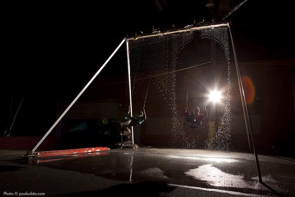 J McDonald  & Ian Charnas testing an early version of the Waterfall Swing. Photo by  Paul Sobota .