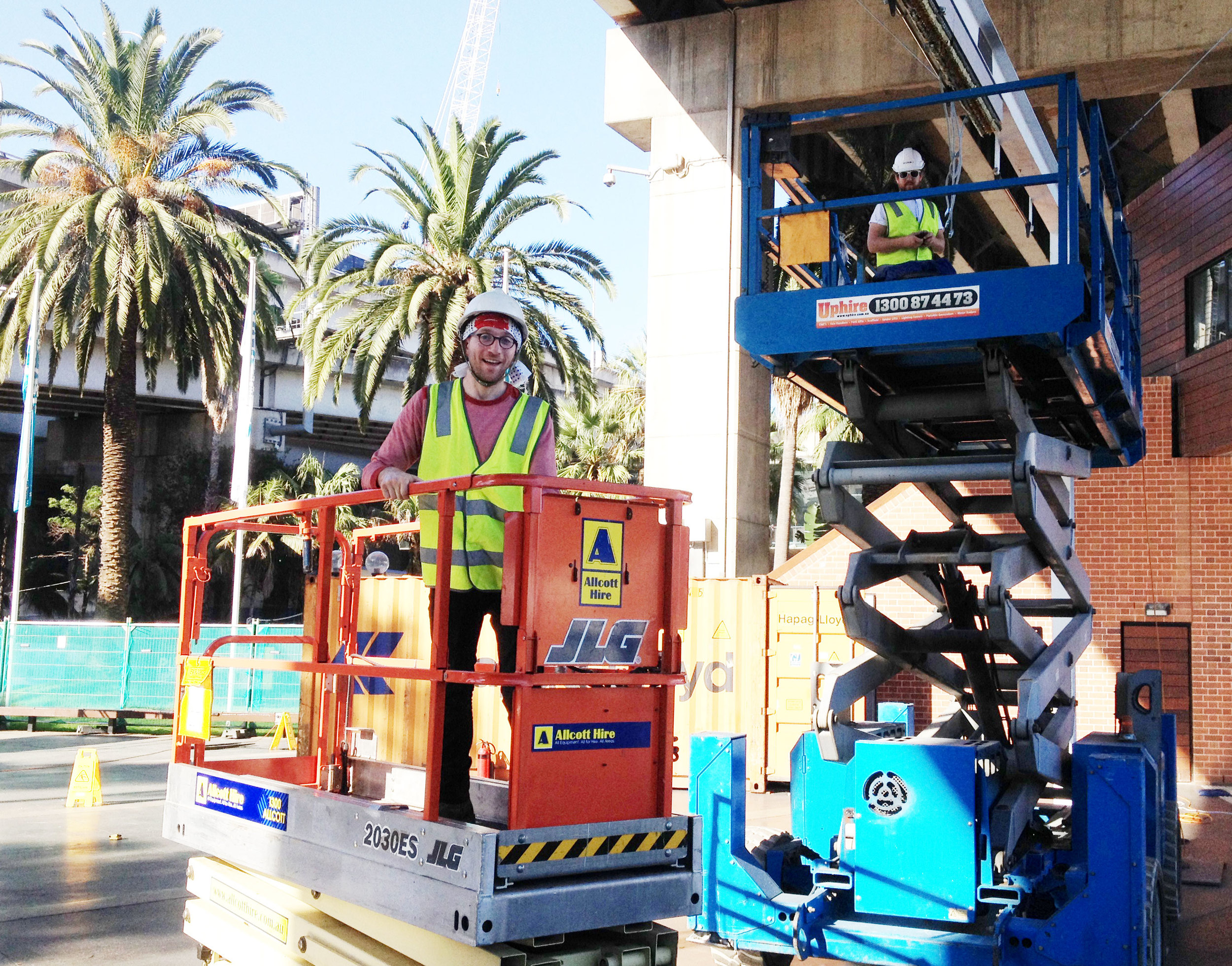 Ian and Mike on scissor lifts
