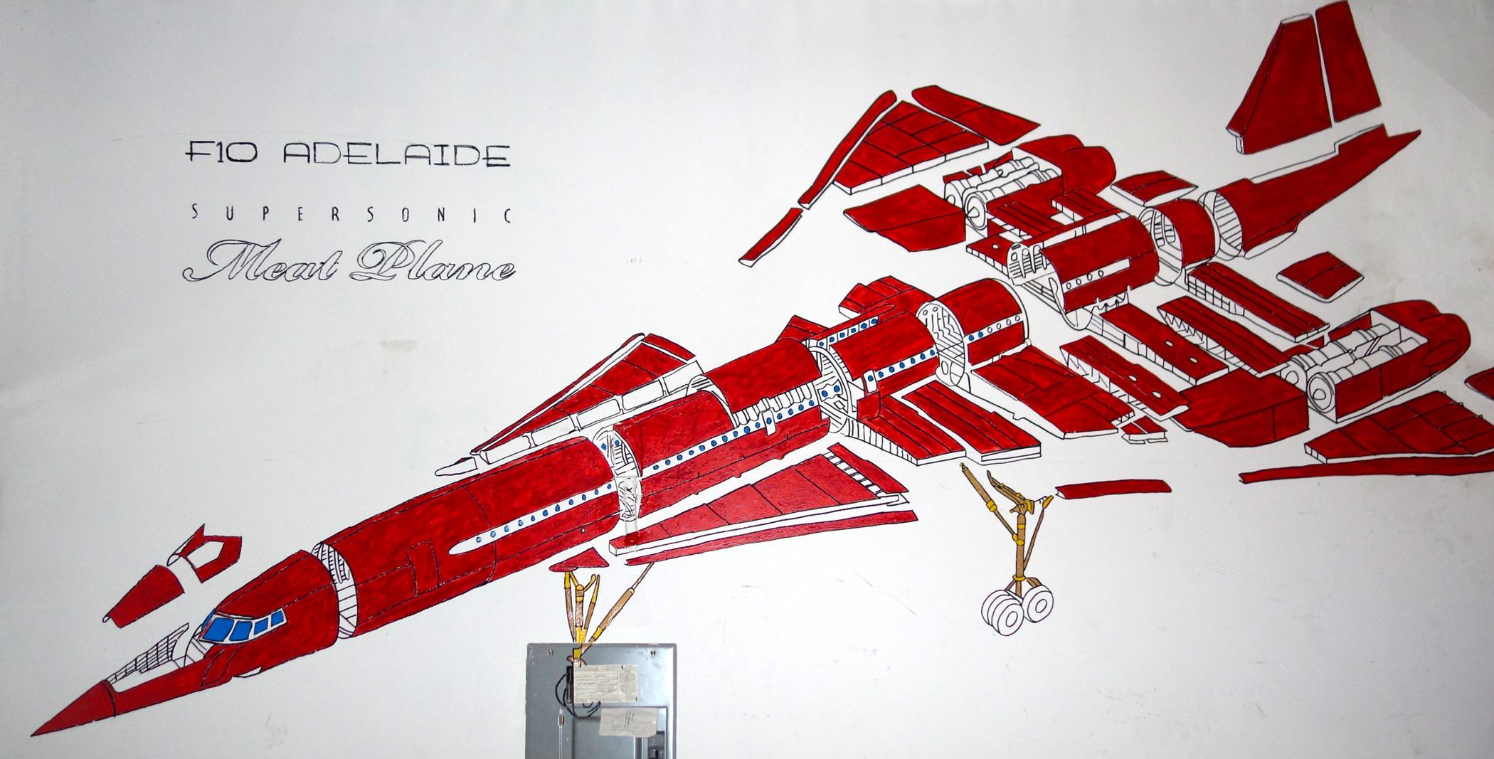 F10 Adelaide Supersonic Meat Plane  mural. Loft residence Bushwick, Brooklyn, NY.