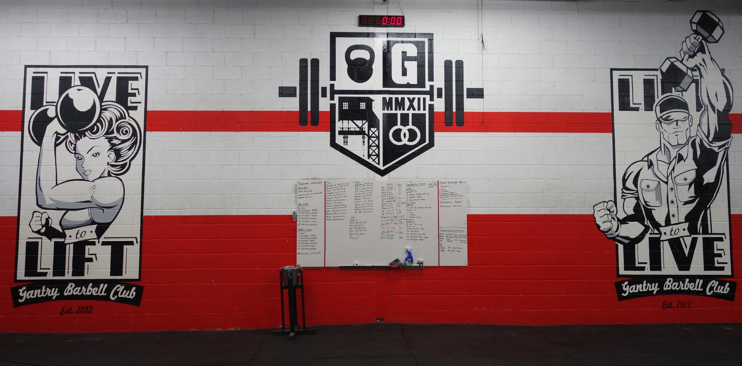 Trio of murals at  CrossFit Gantry .