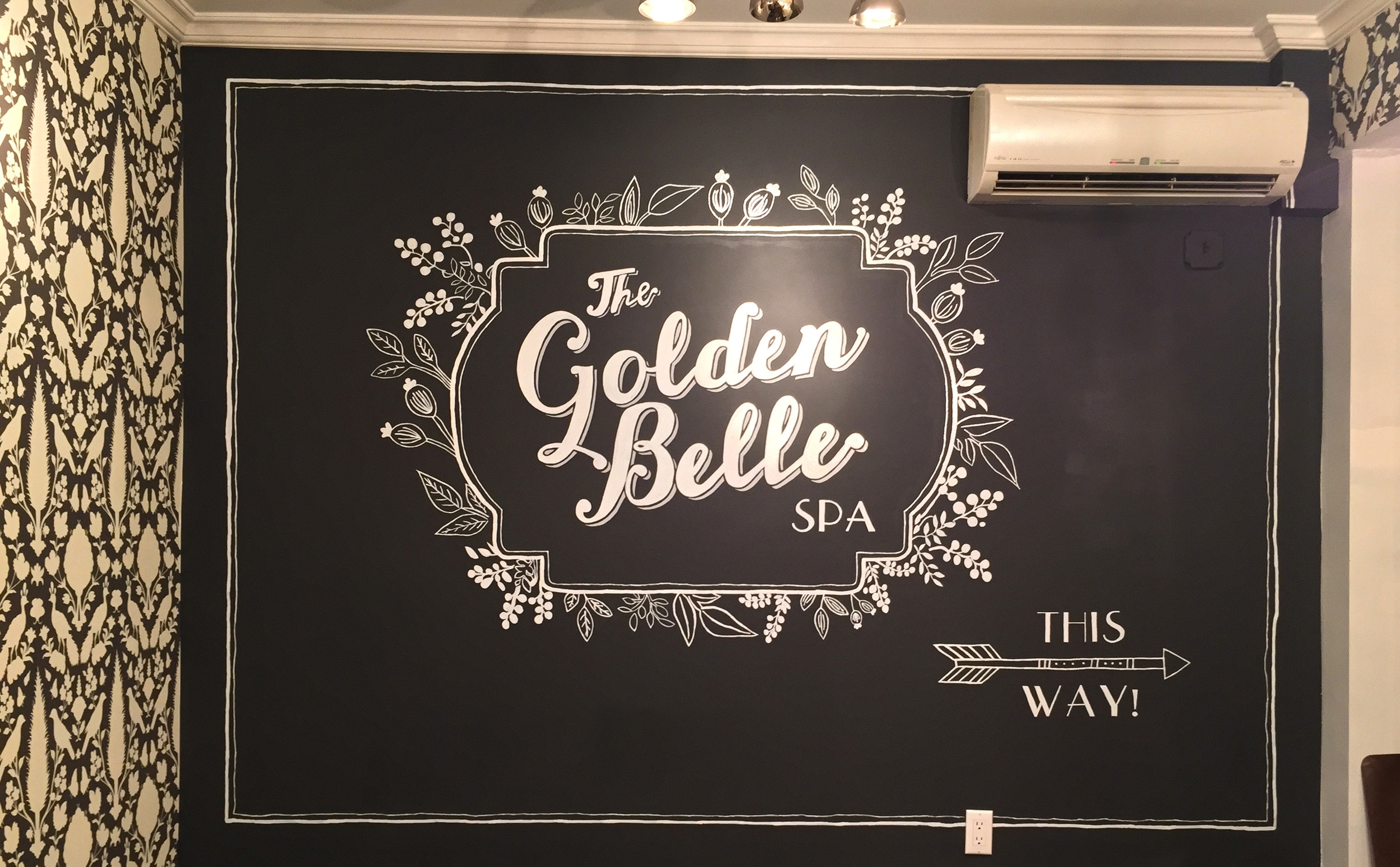 Chalkboard style sign for The Golden Belle Spa at  Bloom Beauty Lounge  in Manhattan. I also designed the logo.