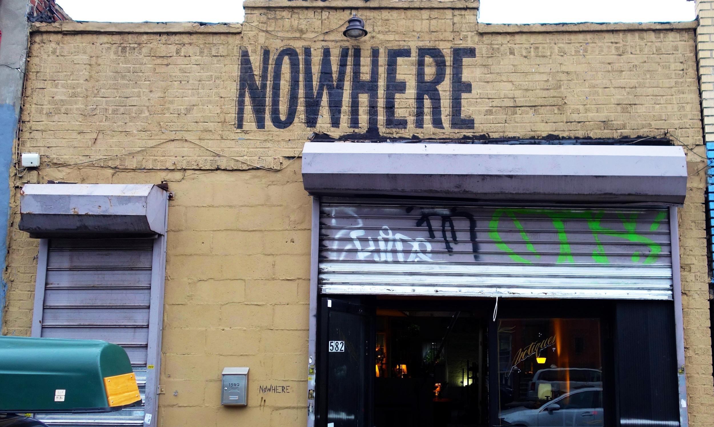 Sign on brick exterior of  Nowhere Studios , Brooklyn, NY.