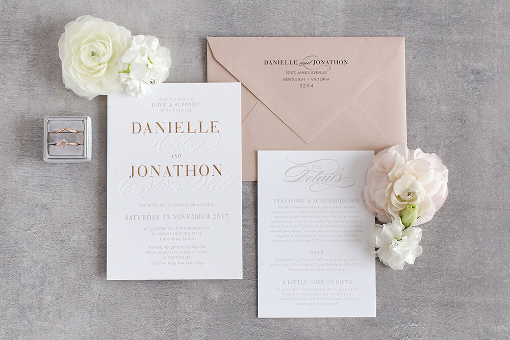Azure - A modern spin on traditional design, the Azure suite mixes classic script with bold typography making it perfect for a romantic, formal affair.