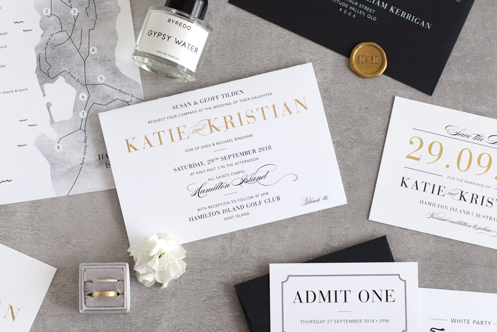 Slate - Traditional, elegant and type-focused - the Slate suite is perfect for any couple wanting to set an elegant tone for their big day.