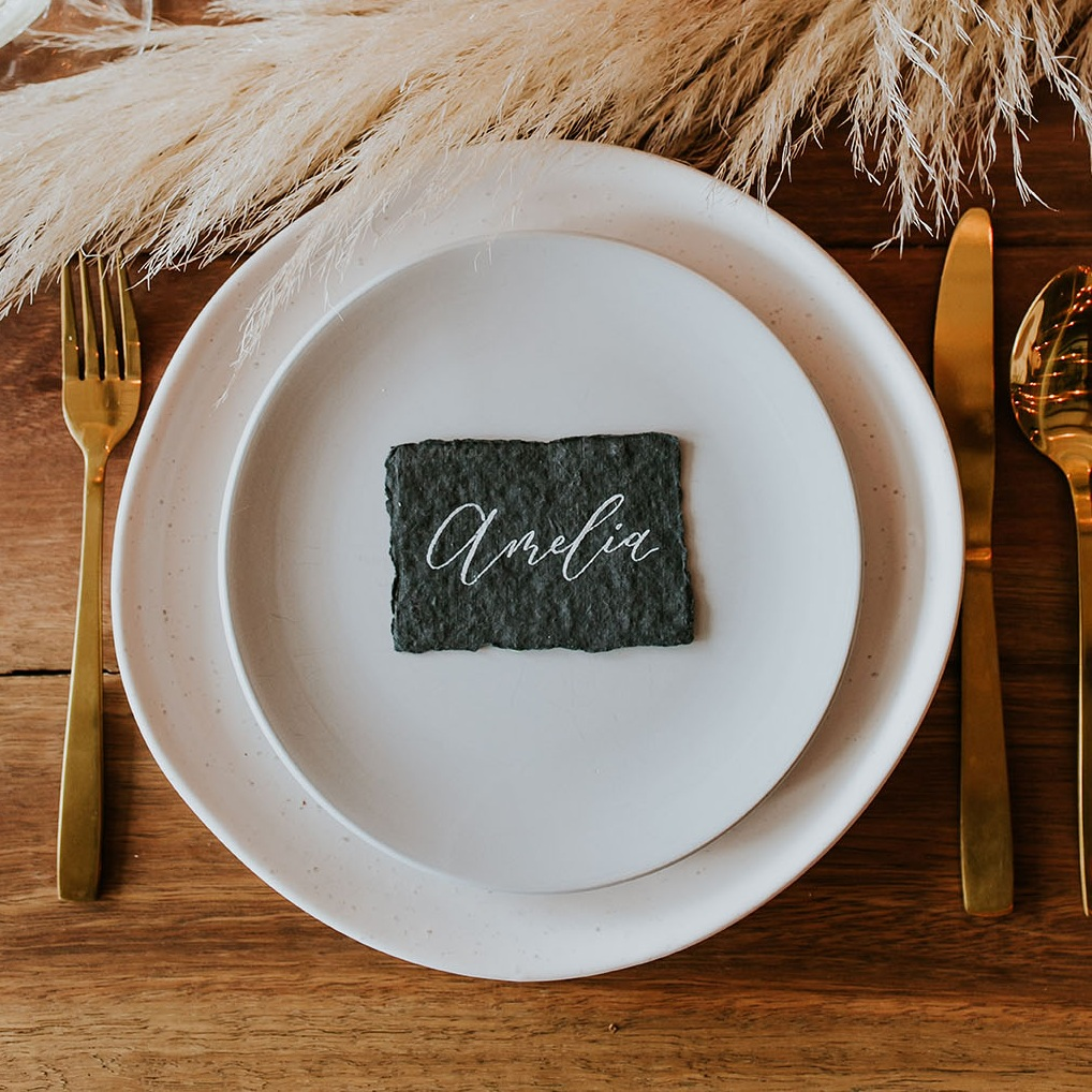 Handmade Paper Place Cards - $2 / cardAvailable in a range of colours.