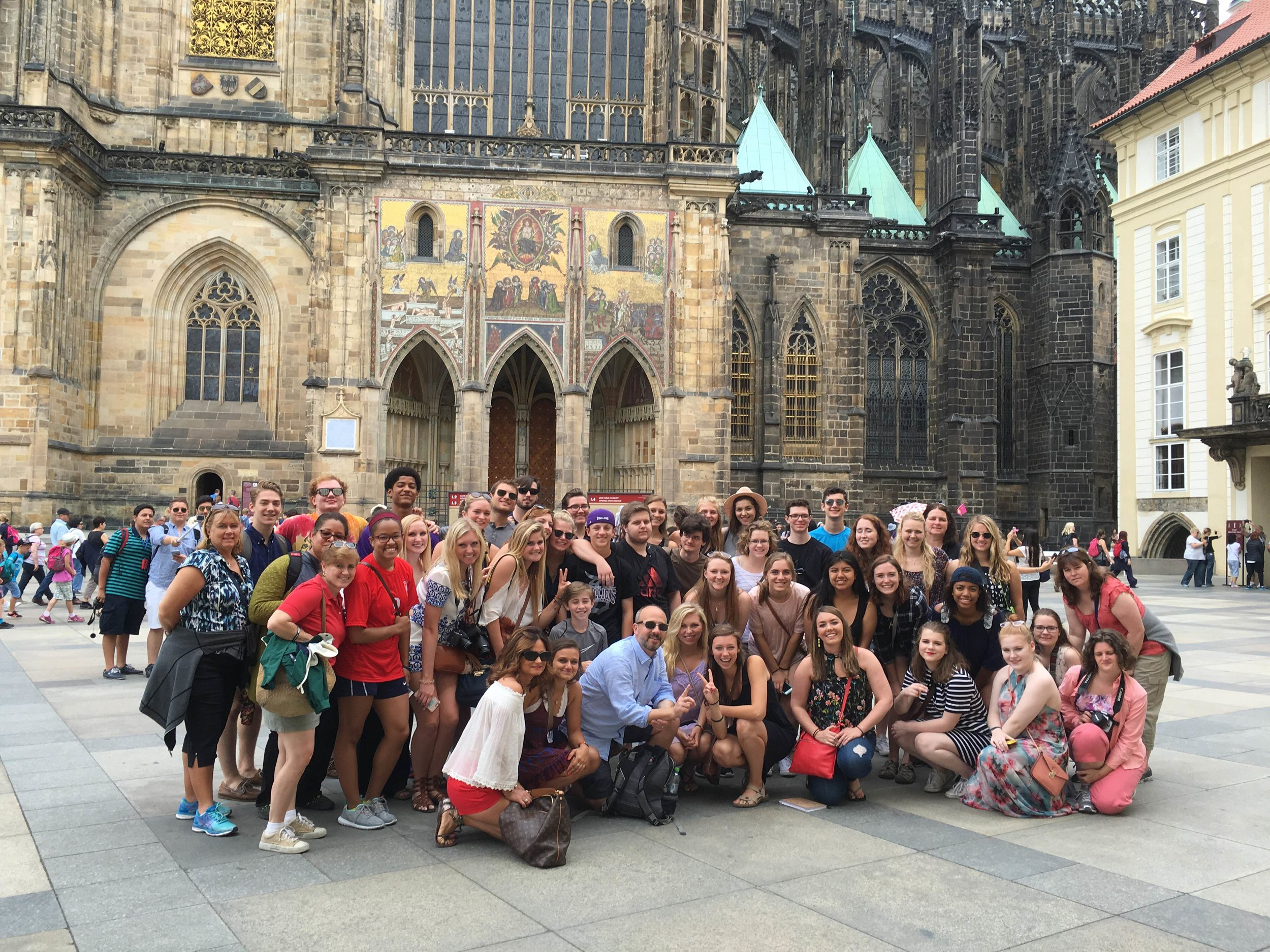 Stallions stop for a photo in Prague during the 2016 International Trip