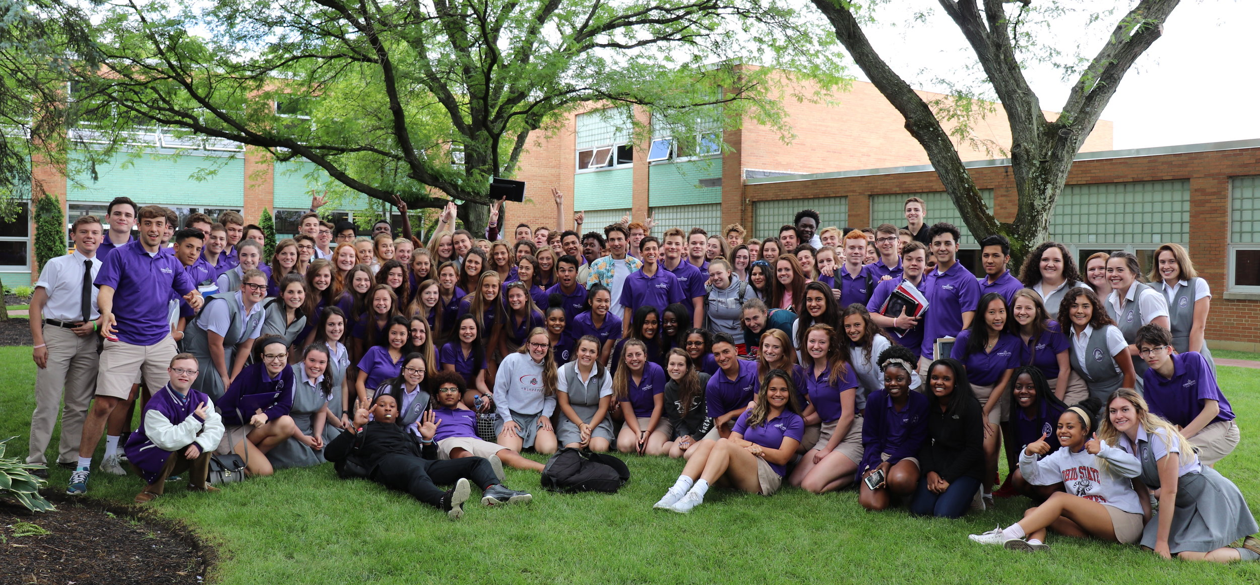 The Class of 2019 in Senior Courtyard for the first time - June, 2018