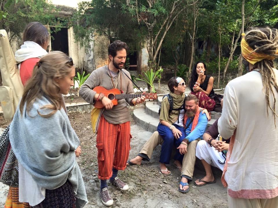 "Impromptu kirtan jam ""Sri Ram Jai Ram"" at the Beatles Ashram in Rishikesh, India"