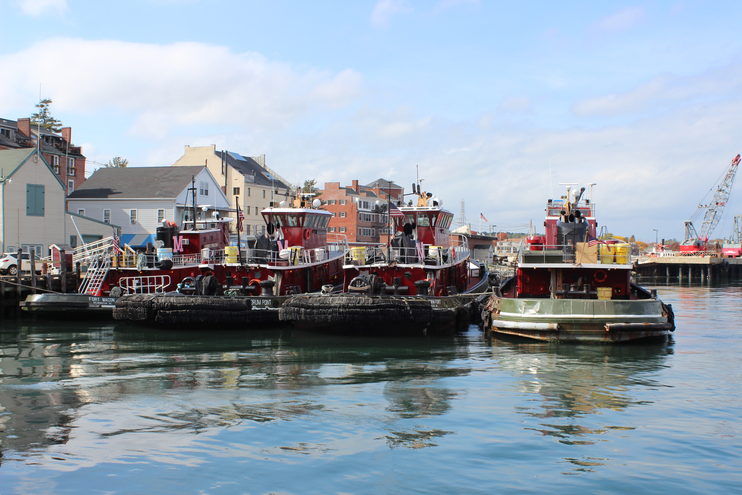 View of the tugboats from the River House deck.