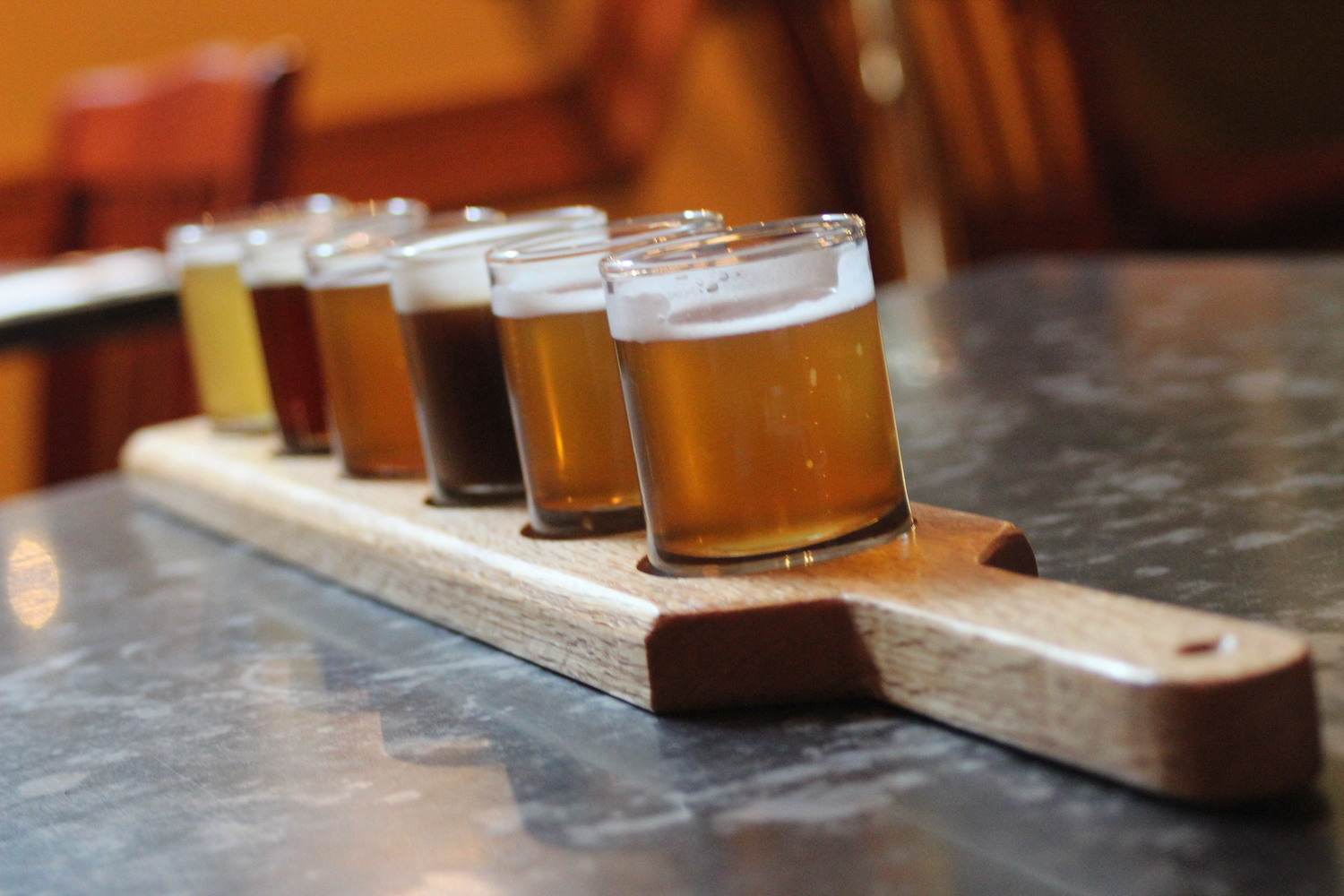 Flight of craft beer at Portsmouth Brewery