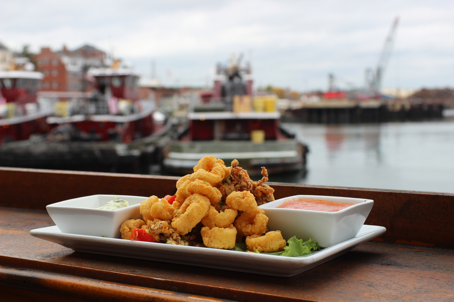 Fried calamari on the water Piscataqua River Portsmouth New Hampshire tugboats