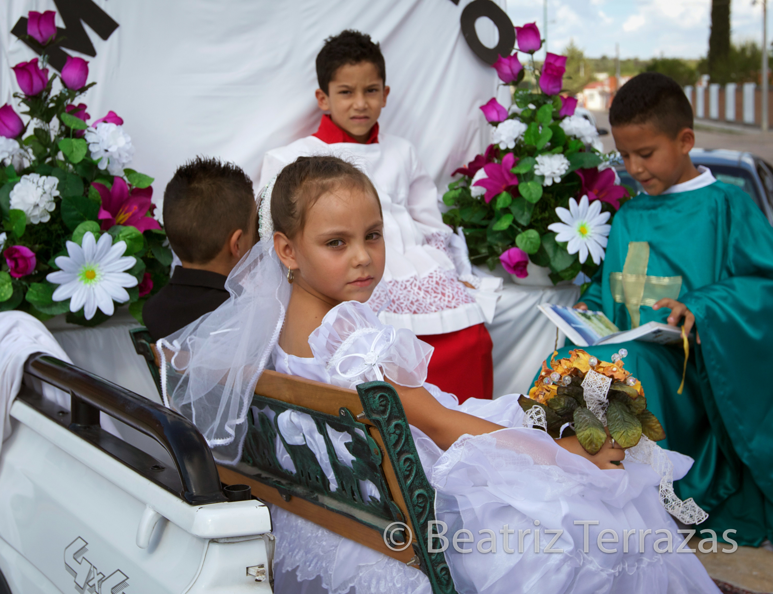 Children take part in a procession during the feast of Nuestra Señora de Las Nieves in Durango, Mexico.