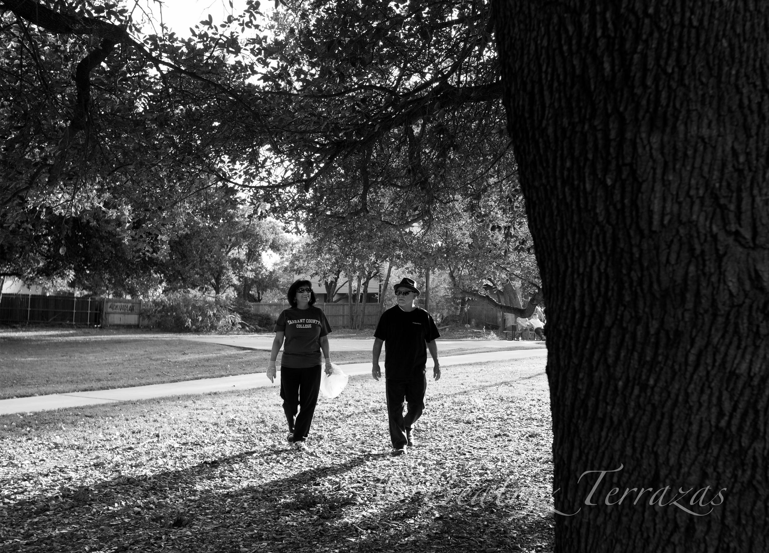 Eva and her husband Bob walk through Linwood - Jesse Sandoval Park periodically to pick up trash.