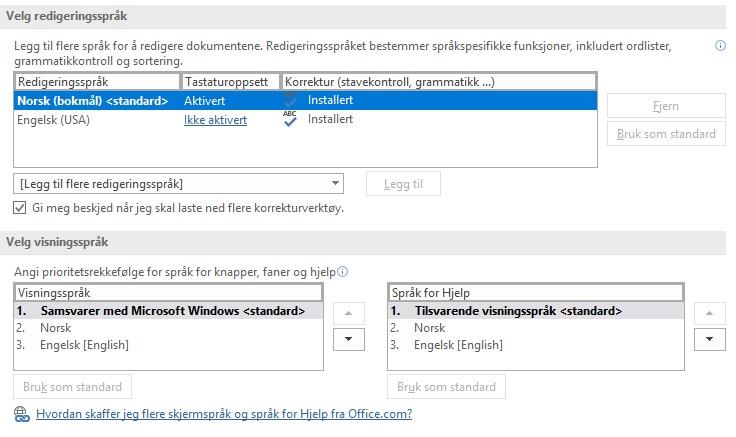 Her ser du en oversikt over dine språkinnstillinger.