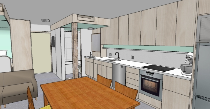 The Pod: Kitchen Rendering
