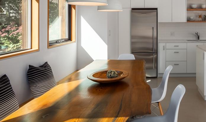 Custom 'live edge' cedar dining table.