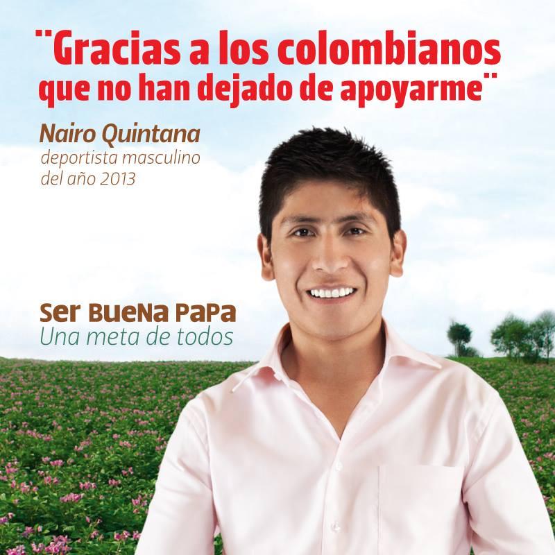 Nairo Quintana, ciclista boyacense y un buena papa por naturaleza, es la imagen de la campaña.