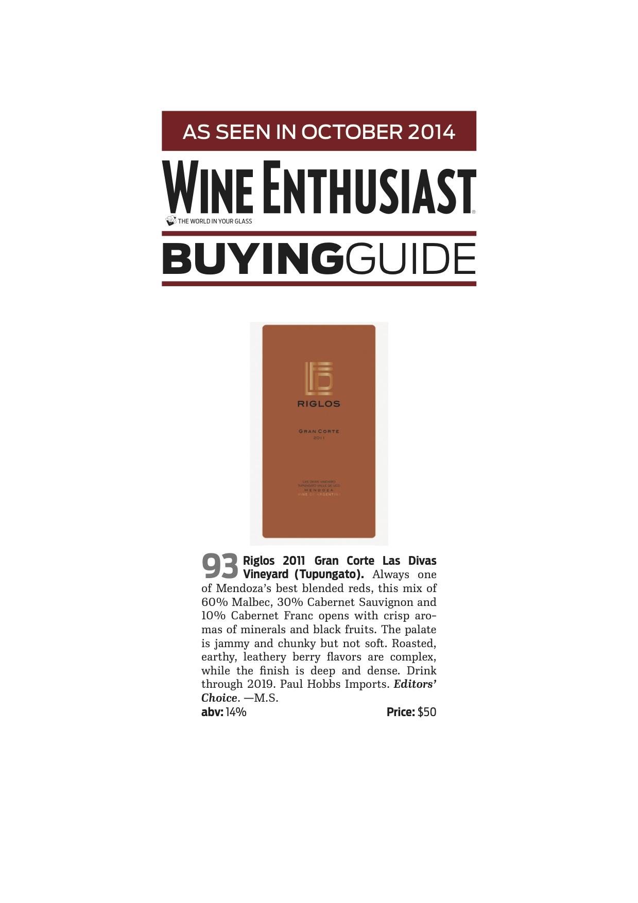 Nota en Wine Enthusiast