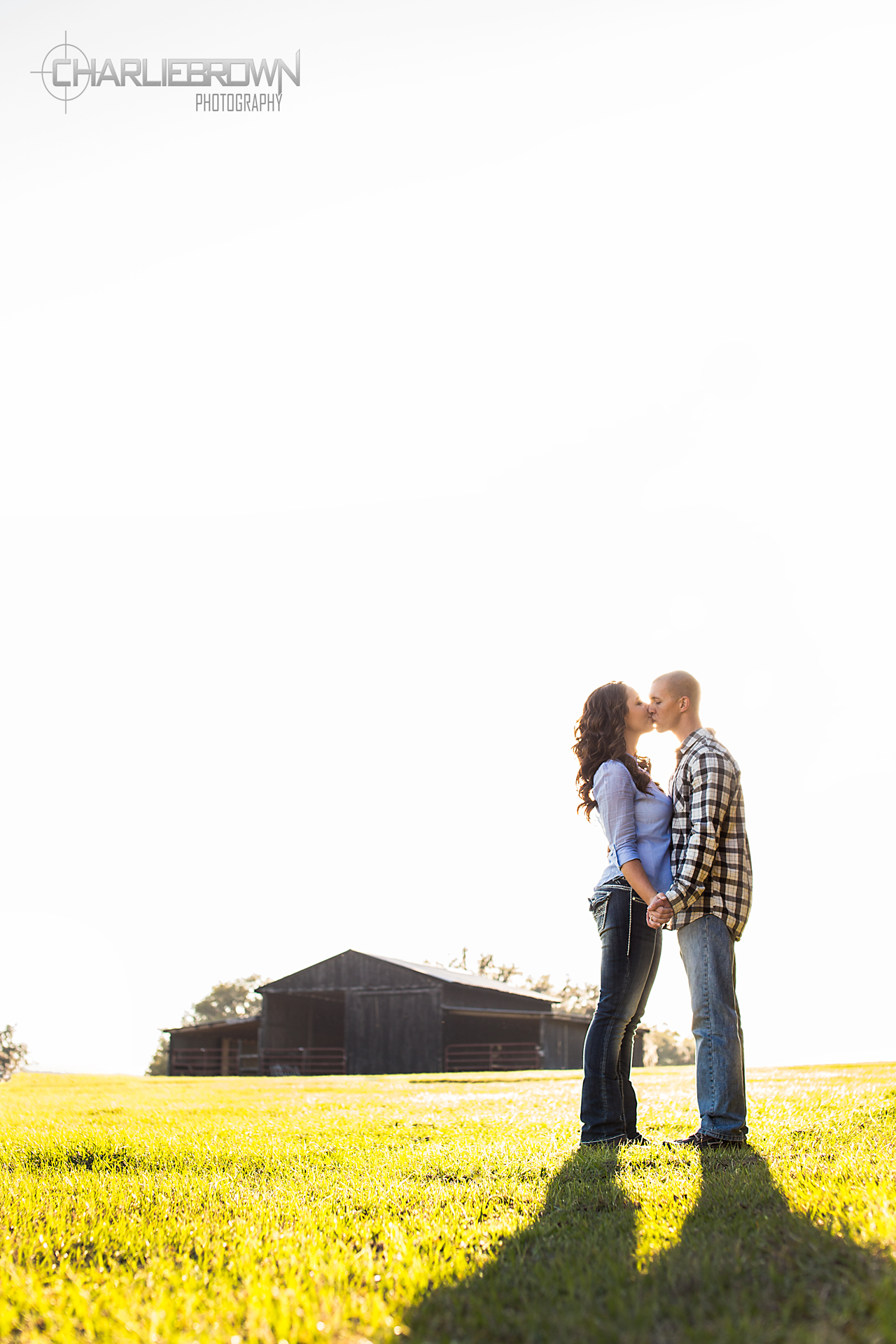 Kissing couple field photo
