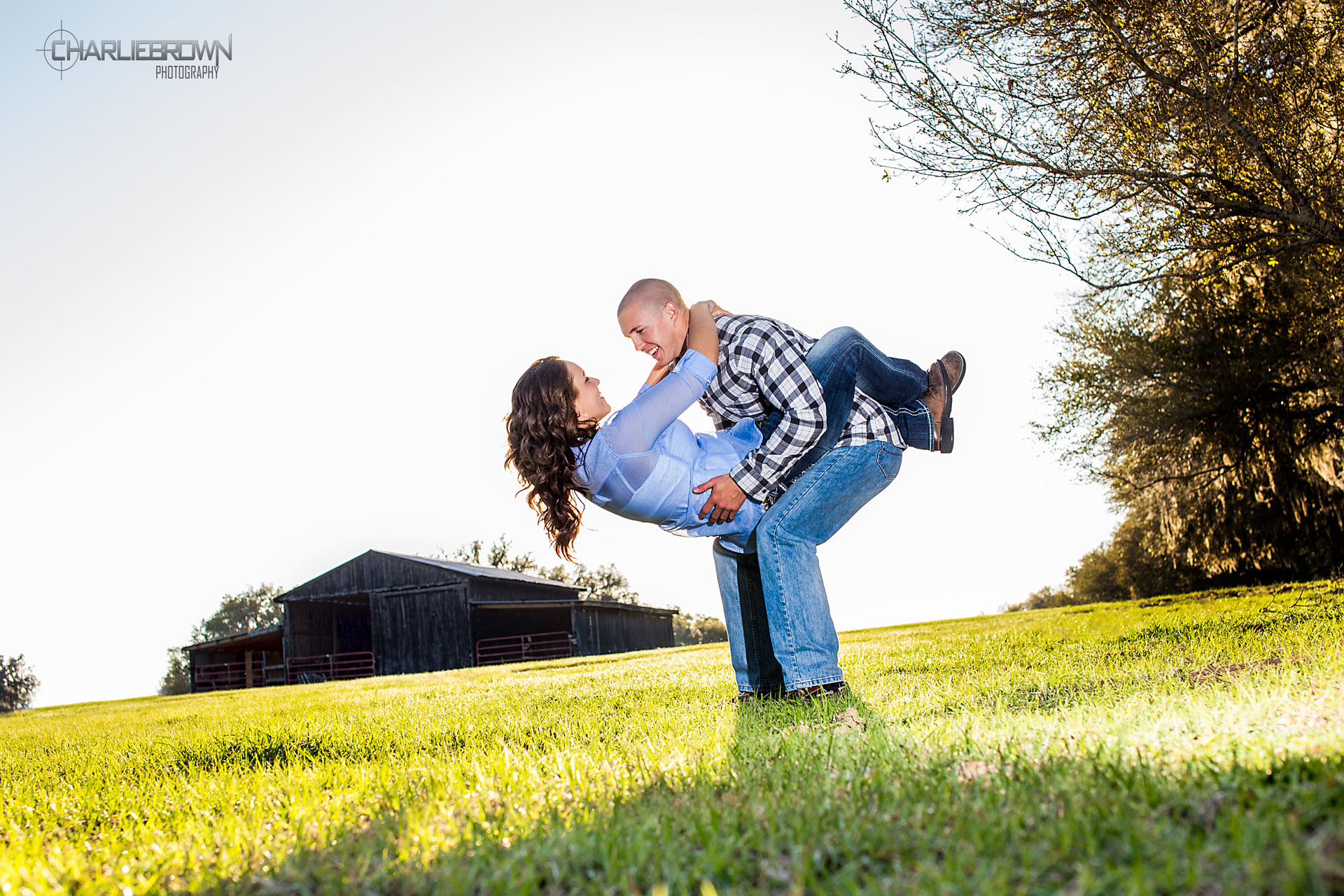 embracing couple in engagement session