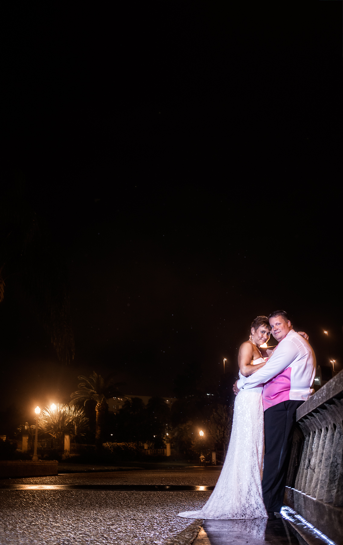 Wedding Photography at night by Garden Bistro Lakeland,FL