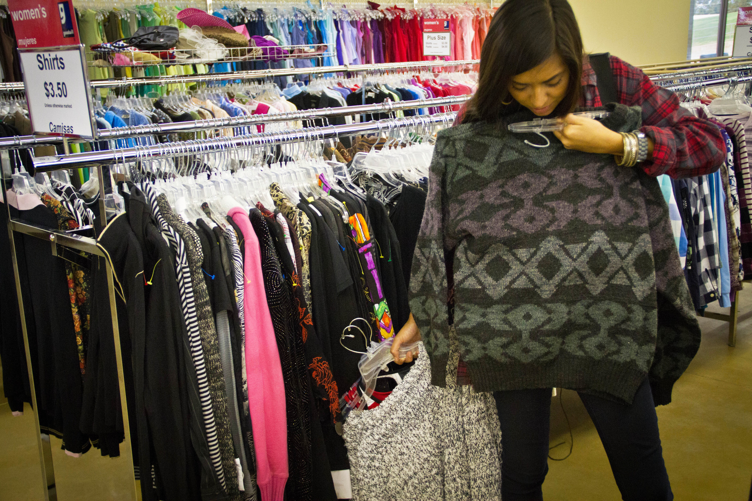 "University of Arkansas senior, Alexis Caldera, ""always find a good deal at Goodwill,"" she said. Shopping at thrift stores has become popular, as students have taken up ""thrifting,"" drawing from the popularity of websites and television reality shows."