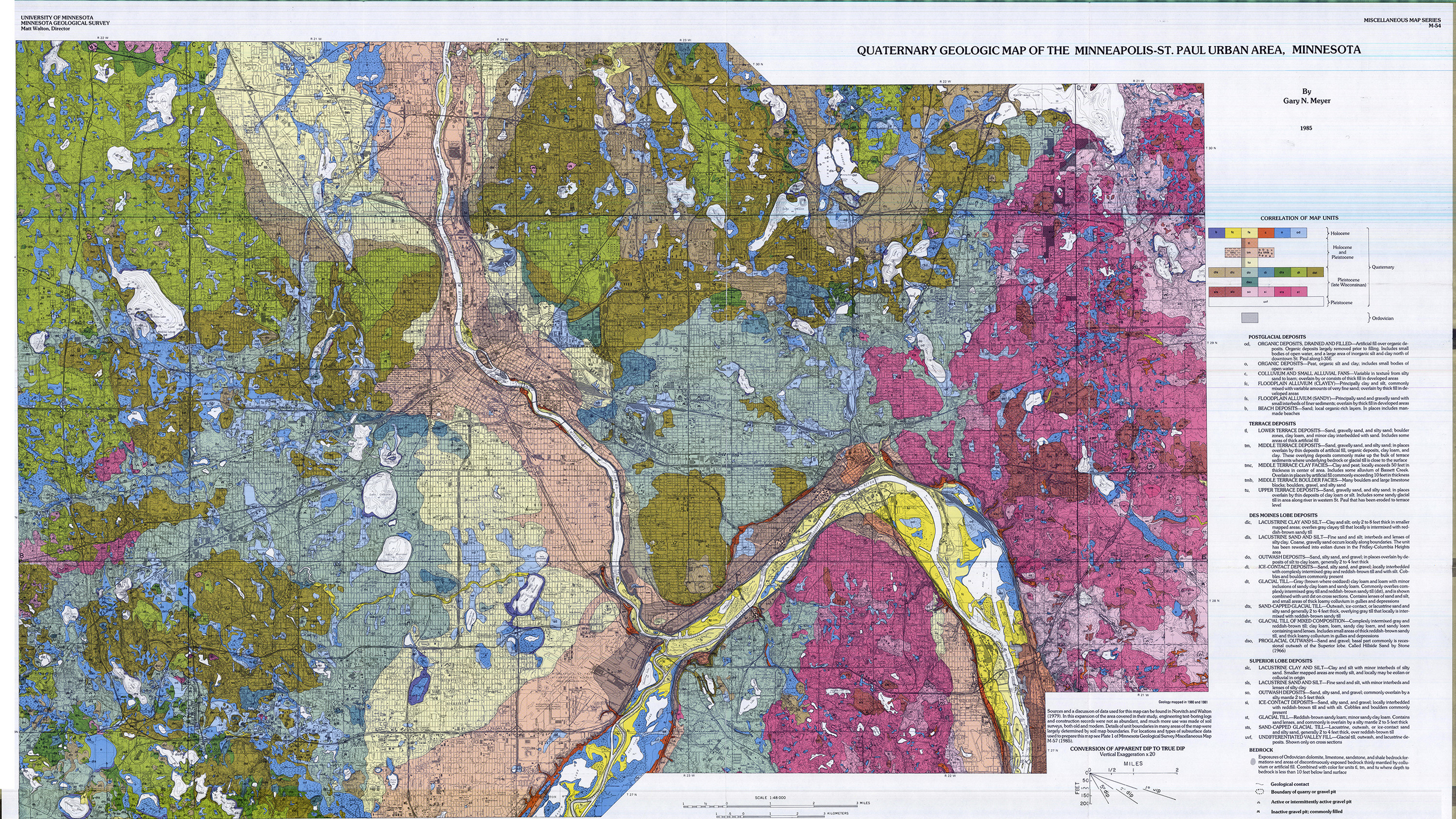 Geological map of Minneapolis showing glacial deposits over time. (Courtesy UMN / Minnesota Geological Survey)