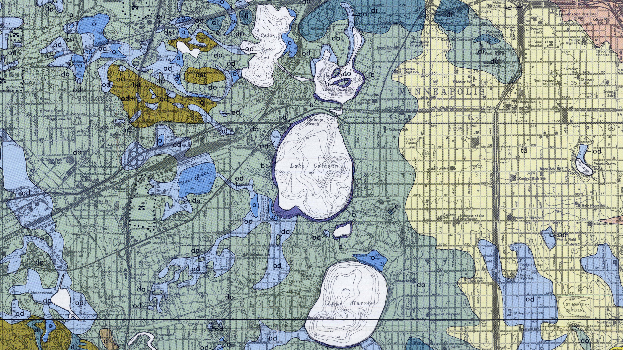 Geological map of Minneapolis showing glacial deposits over time; closeup of the Chain of Lakes.(Courtesy UMN / Minnesota Geological Survey)