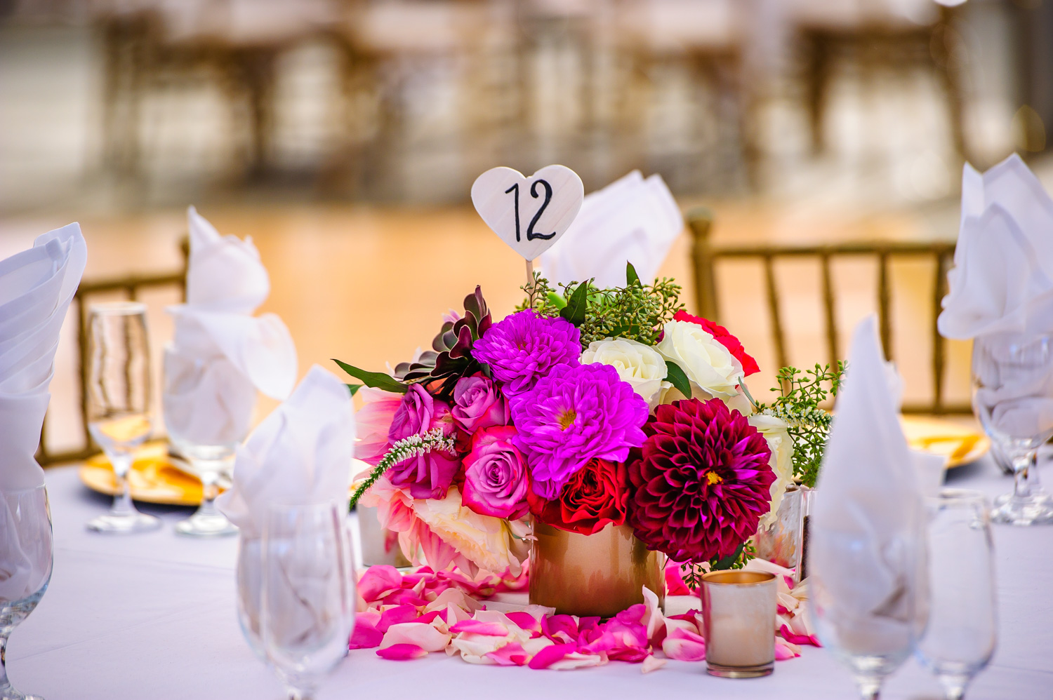 Pink and Gold wedding decor Nella Terra Cellars