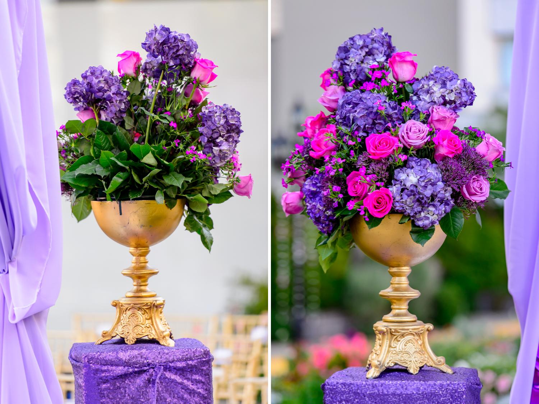 purple Wedding decor Fairmont San Francisco