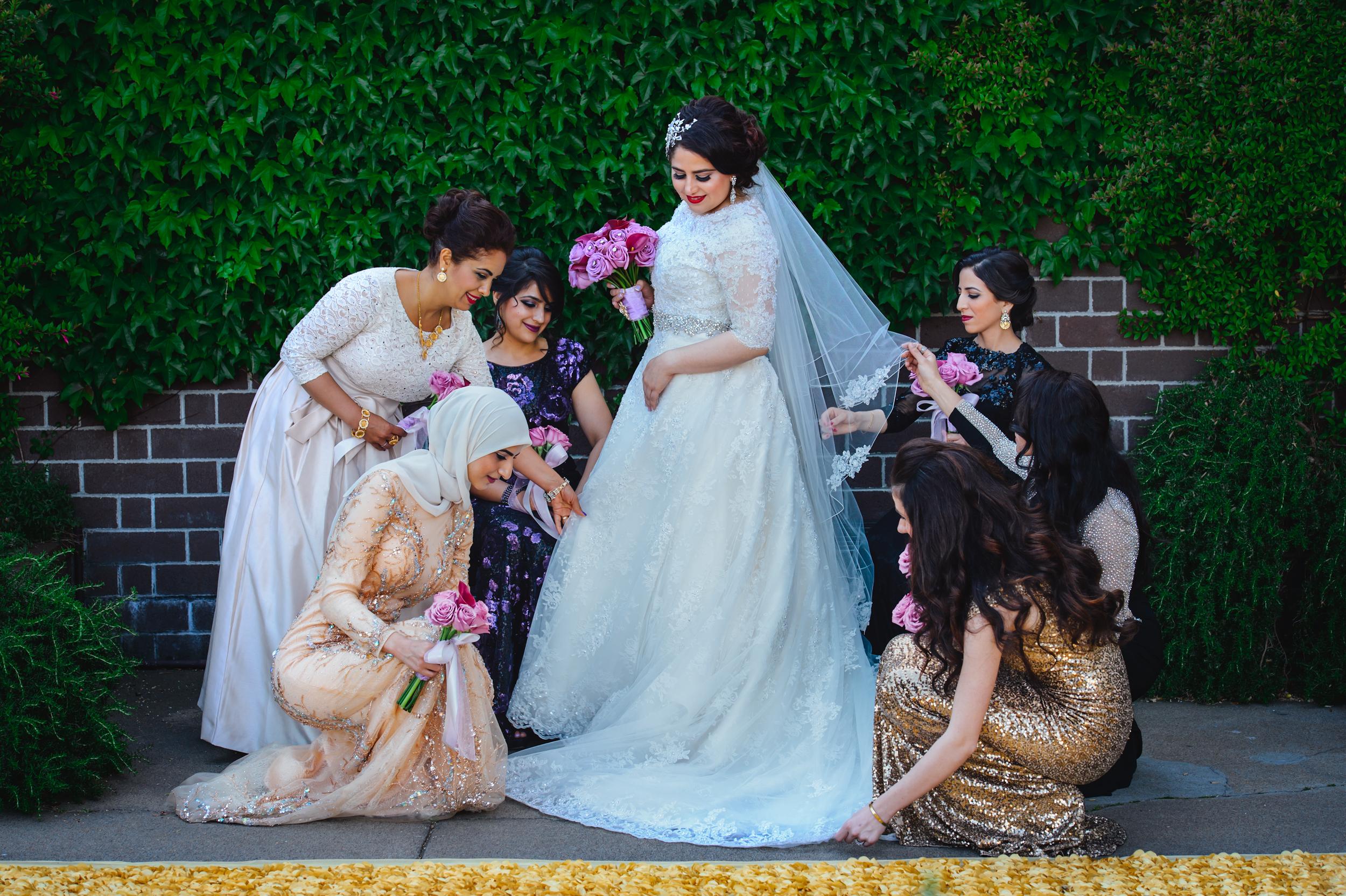 bride with her bridesmaids Fairmont San Francisco