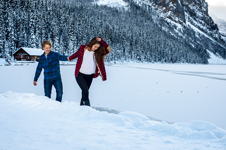 Winter engagement session Banff National park