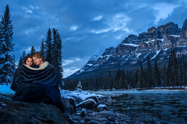 Winter engagement shoot Banff National park