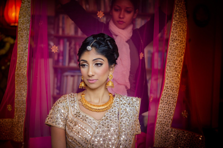 Bride getting ready Bay area Indian fusion wedding