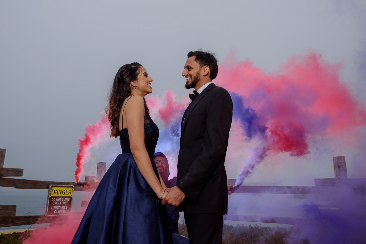 Smoke bomb engagement shoot bay area
