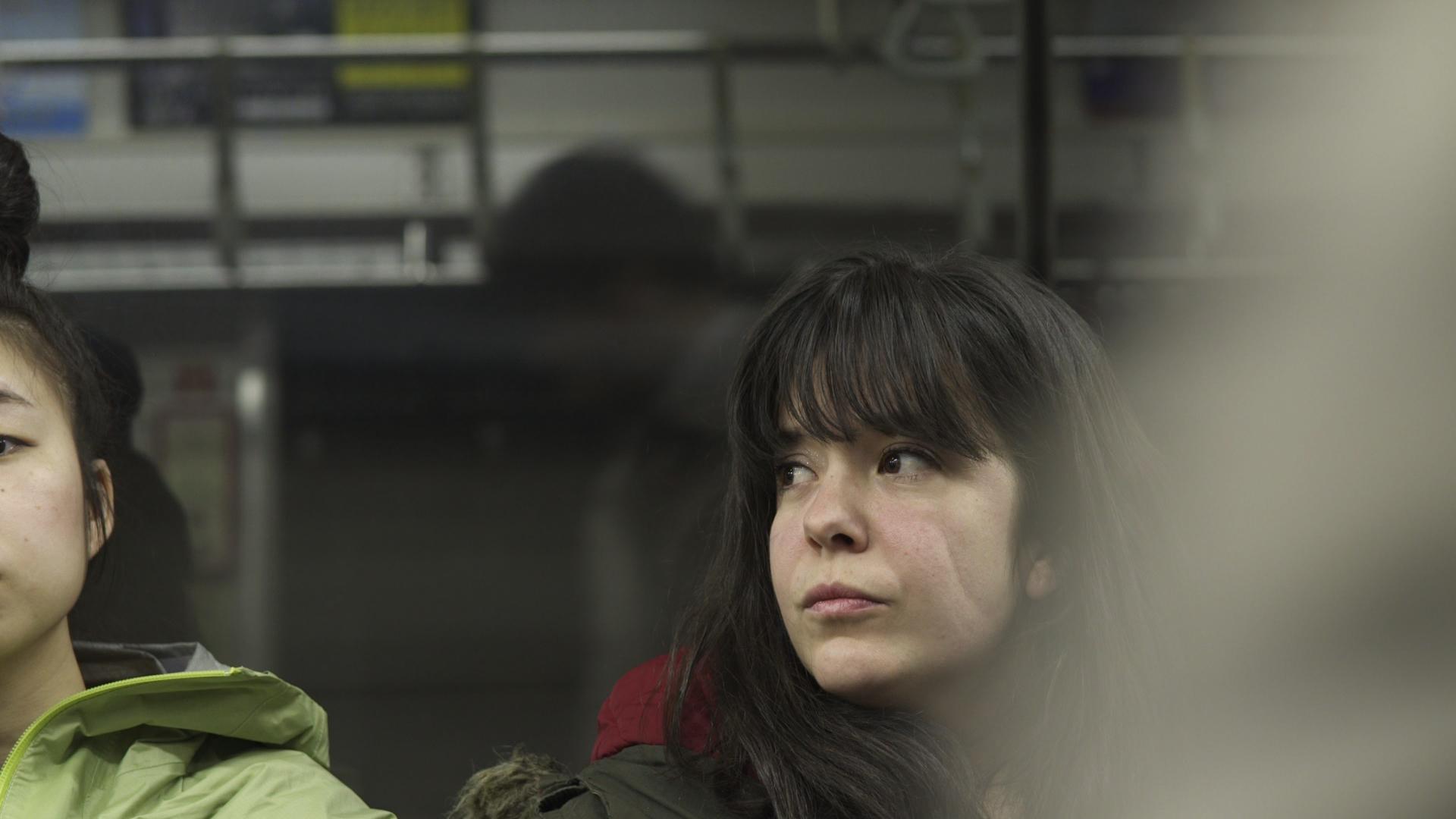 Mária on the train.