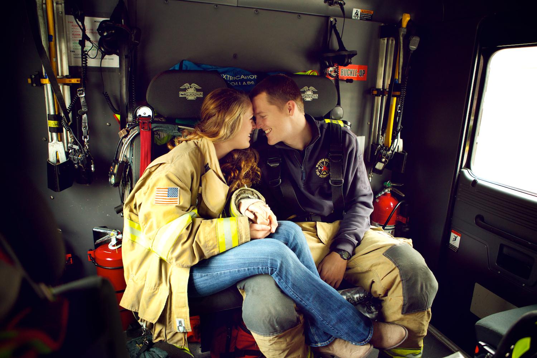 I owa Fire Station in Windsor Heights. Engagement session at the fire station with a fire fighter.