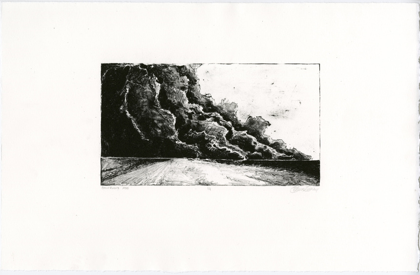 "Black Rollers 1935 , Plate Lithography on BFK Reeves, 11""x17"""
