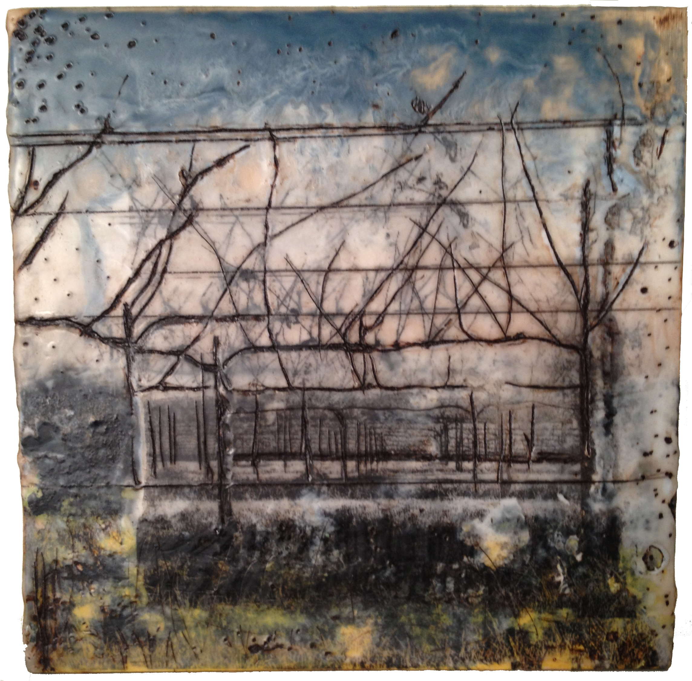sonoma   encaustic mixed media 8 x 8 inches SOLD