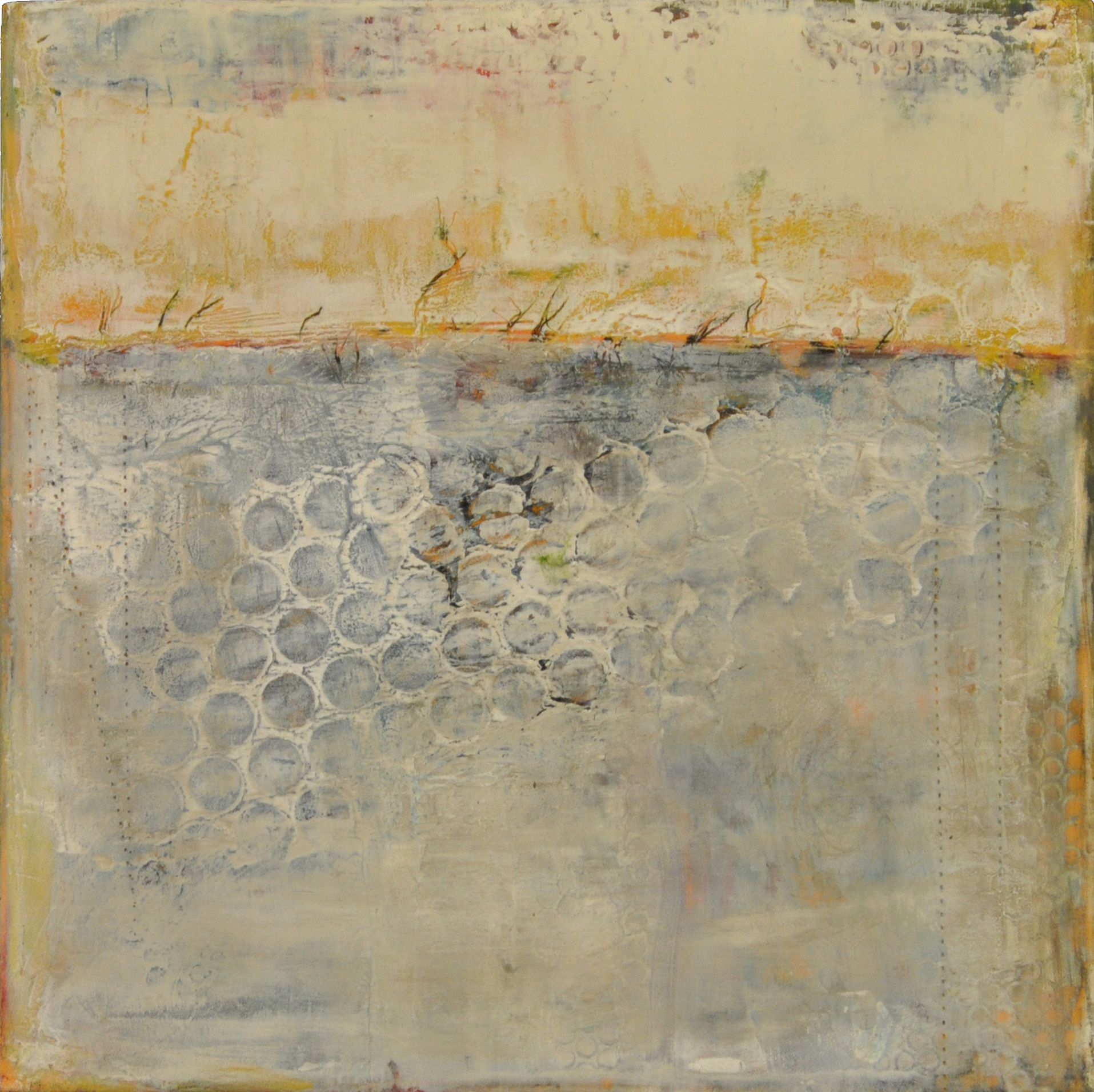 a new day   oil and cold wax 8 x 8 inches 2014 SOLD