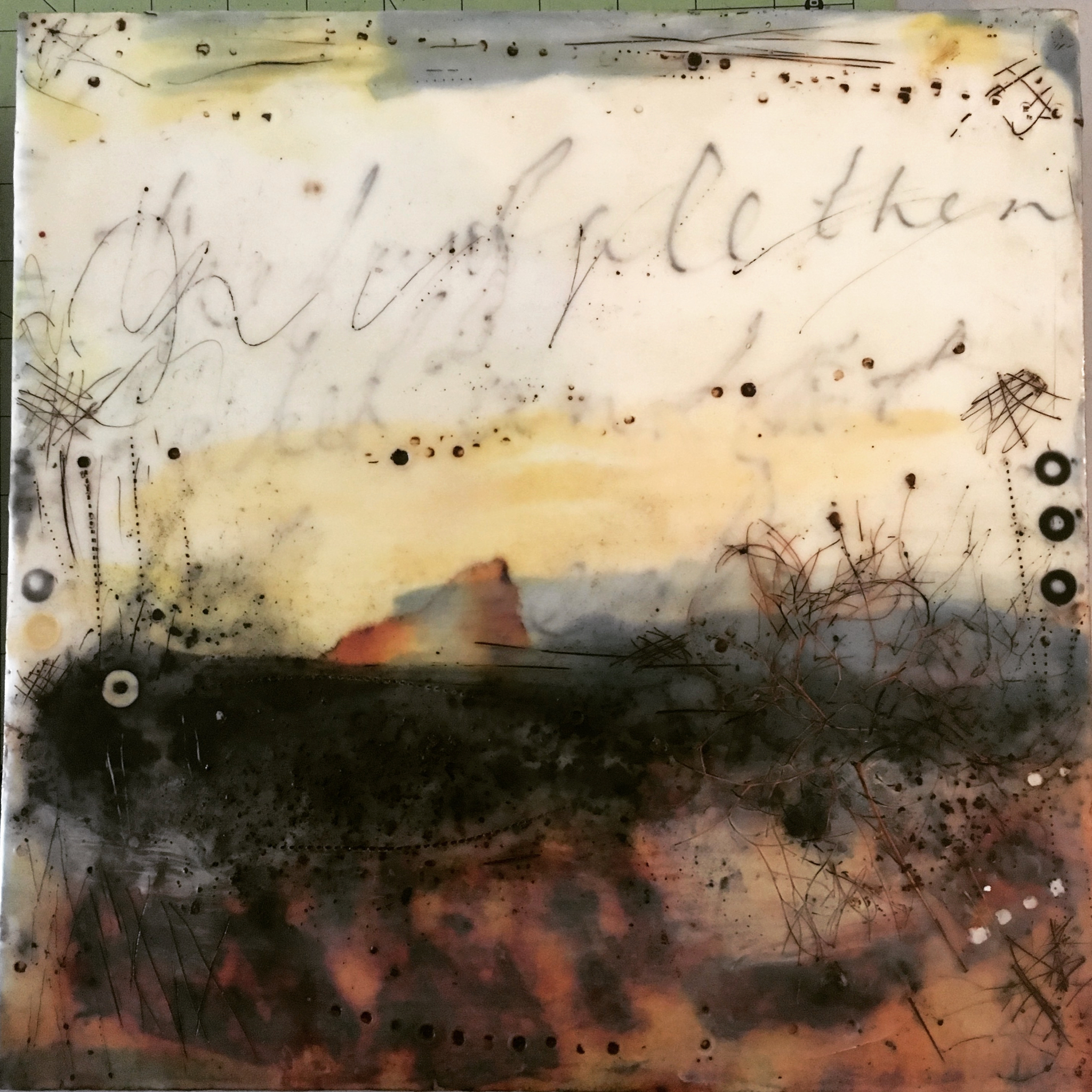 reprieve   encaustic mixed media 12 x 12 inches 2017 SOLD