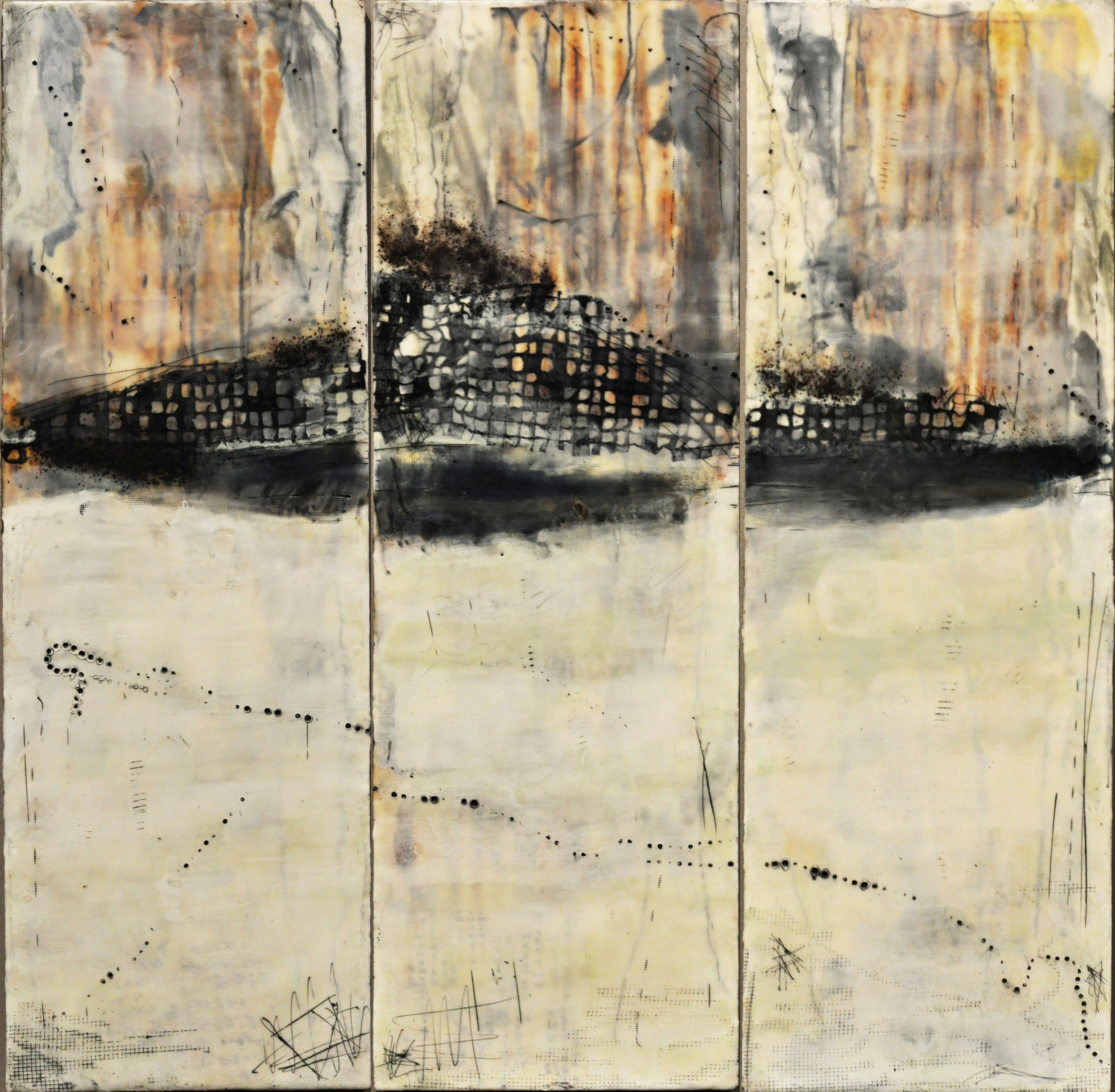 summiting   encaustic mixed media 18 x 36 inches, triptych 2017 SOLD